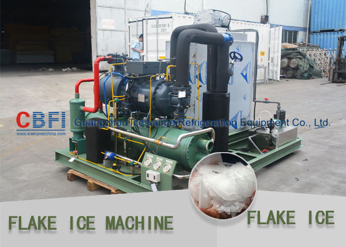 Market Cooling Fish / Vegetable Flake Ice Making Machine Fresh Ice Bitzer Compressor